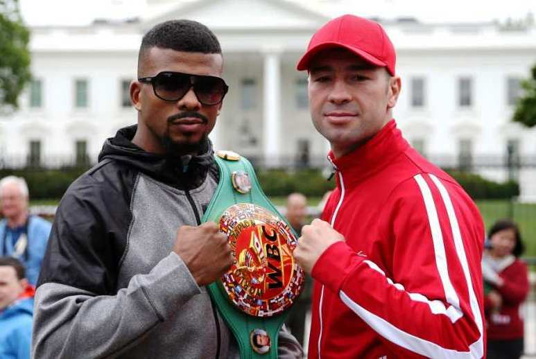 Badou Jack and Lucian Bute pose in front of the White House.
