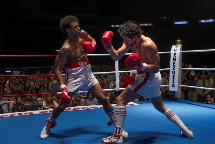 "The Hollywood versions of This image released by The Weinstein Company shows Usher Raymond, left, and Edgar Ramirez in a scene from, ""Hands of Stone."" (Rico Torres/The Weinstein Company via AP)"