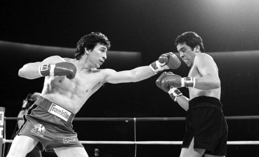 RENO - JANUARY 14,1984: Ray Mancini (L) throws a left jab against Bobby Chacon during the fight at the Lawlor Events Center on January 14, 1984 in Reno, Nevada. Ray Mancini won the WBA World lightweight title. (Photo by: The Ring Magazine/Getty Images)