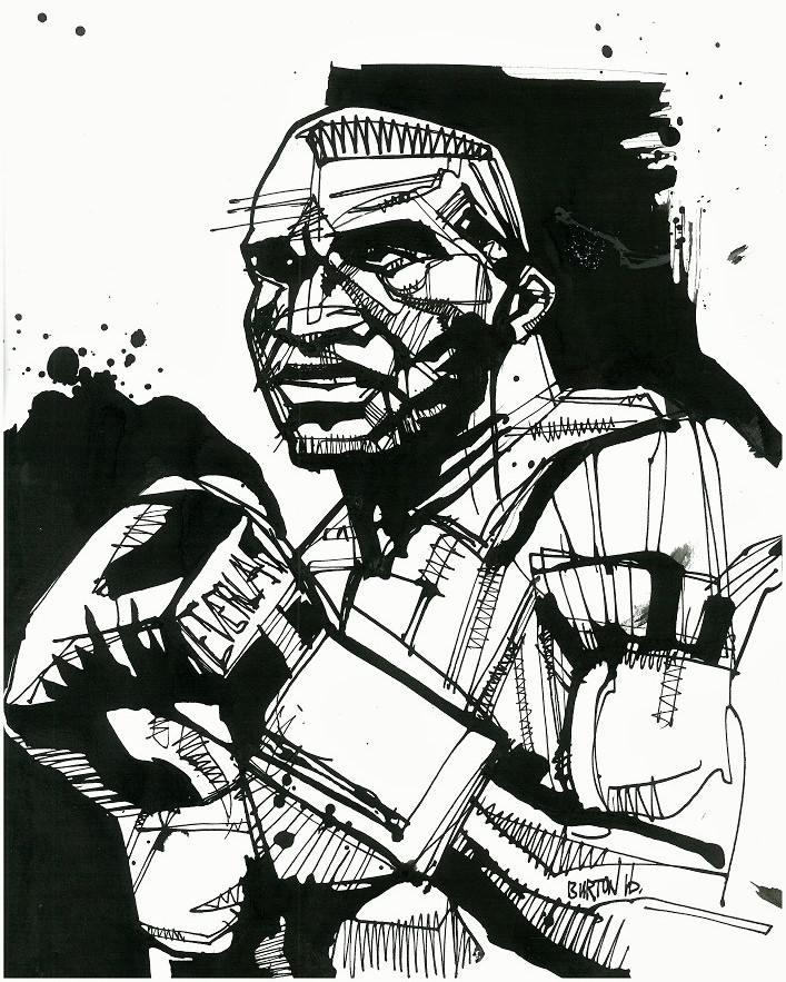 Evander Holyfield: Ink drawing by Damien Burton.