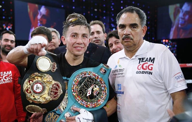 Golovkin with trainer Abel