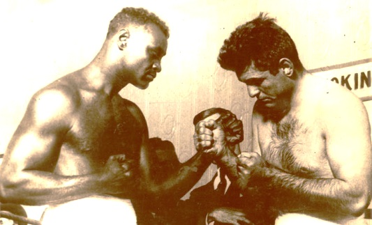 Wills and Firpo pose before their 1926 match.