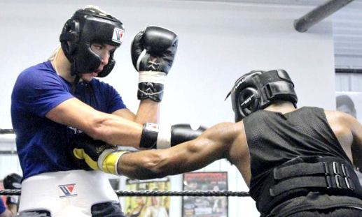 Sparring with fellow top prospect Shakeel Phinn.