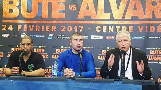 Lucian Bute faces the media with Michel and trainer Howard Grant.