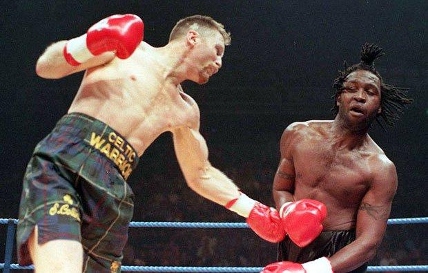 Collins battles Benn.