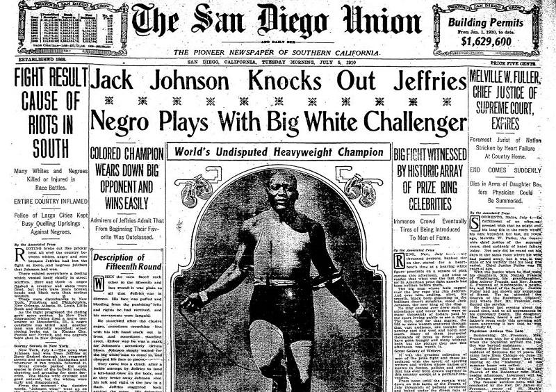 Johnson vs Jeffries front page